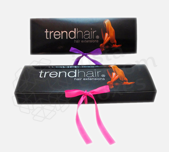 Black hair extension box with silver foil